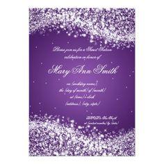 Sweet Sixteen Birthday Party Sparkling Wave Purple 5 X 7 Invitation Card Sixteenth
