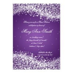 Sweet Sixteen Birthday Party Sparkling Wave Purple 5x7 Paper Invitation Card