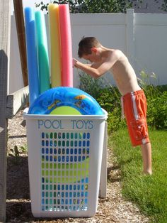 Use a big laundry hamper to corral oversize pool toys. Pool Toy Organization, Pool Toy Storage, Pool Float Storage, Organization Ideas, Organizing Toys, Lego Storage, Storage Ideas, Big Pools, Cool Pools