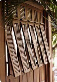 An exterior shot of French-style shutters at La Residence d& Siem Reap, Cambodia. The resort& architecture is a fusion of French colonial and classic Khmer design. Exterior Colonial, Design Exterior, Bungalow Exterior, British Colonial Decor, French Colonial, Tropical Architecture, Architecture Details, House Architecture, Colonial Architecture