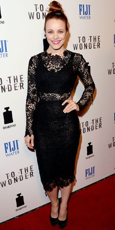 Rachel McAdams & Olga Kurylenko: 'To The Wonder' Premiere Beauties!: Photo Rachel McAdams keeps its lacy while attending her new flick To The Wonder held at Pacific Design Center on Tuesday (April in West Hollywood, Calif. Rachel Mcadams, Gowns With Sleeves, Lace Sleeves, Olga Kurylenko, Mean Girls, Red Carpet Fashion, Peplum Dress, Lace Dress, Ideias Fashion