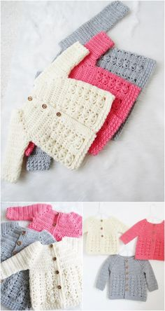 crochet baby cardigan These free crochet baby sweater patterns will give your motherhood a sweet and interesting chance to show off your love for your kids. Plus these baby sweate Crochet Baby Cardigan Free Pattern, Crochet Baby Sweaters, Baby Sweater Patterns, Baby Girl Crochet, Crochet Baby Clothes, Crochet For Kids, Baby Patterns, Easy Crochet, Baby Knitting