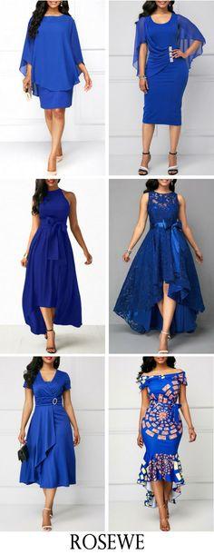 Royal Blue Back Slit Cape Shoulder Sheath Dress. Modest Dresses, Cute Dresses, Beautiful Dresses, Blue Dresses For Women, Clothes For Women, Pretty Outfits, Cute Outfits, Chic Dress, Dress Casual