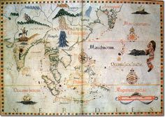 1500s Portuguese map of the important Spice Islands. Europe's maritime nations were highly envious of the Portuguese and their lucrative spice trade.  The Spanish sought a route to the Spice Islands sailing westwards only to collide with the New World. The English attempted to find its own route by searching, forlornly, for a North-West passage.