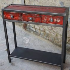 Console bois métal design