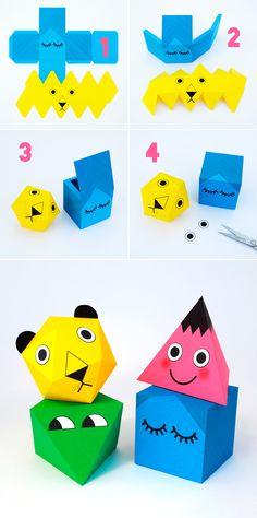Printable polyhedra characters // minieco.co.uk