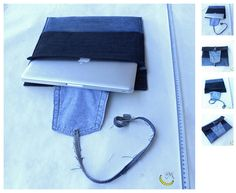 Cover of padded fabric jeans, laptop, with a pocket. Made with various denim fabrics recycled.  I can make these covers for notebooks of all sizes, simply dimensions to be specified at the time of purchase.  I used tissue of discarded clothes and two re-used belts. ----------------> Follow me on web: https://malicecraft.wordpress.com/  ----------------------> fb: https://www.facebook.com/MaliceCrafts