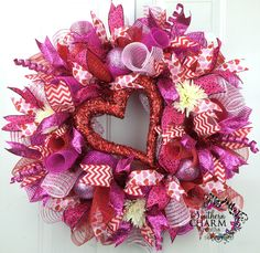 Deco mesh Valentines Day Wreath with beaded heart by www.southerncharmwreaths.com