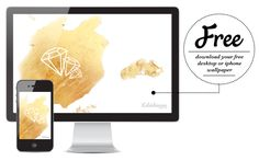 November iPhone and Desktop Wallpaper // Free Download - gold foil with white faceted diamond design from Kaleidoscope Blog