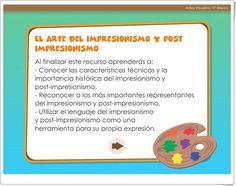 """""""El arte del Impresionismo y post impresionismo"""" (Educación Plástica de 5º y 6º de Primaria) Post Impressionism, Teaching Resources, Learning, Pintura"""