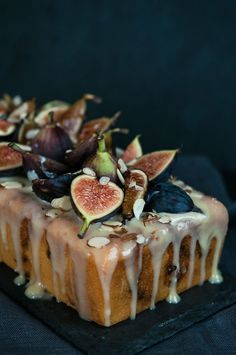 Fig Almond Tea Cake with Coconut Honey Glaze~ almost too pretty to eat...almost.......