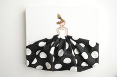 NEW! Little Princess in Black & White Polkadots - hand painted canvas, nursery artwork, baby shower, nursery decor, baby room, girls room