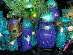 Peacock Centerpiece- do w/ old vases/wine bottles