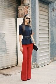 red wide legged trousers, black top