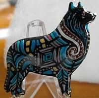 dogartbycindy  These beautiful handmade & hand painted pins/pendants can be ordered at   deesplace1@sbcglobal.net.   They an be painted to look like the breed or mosaic as shown in this picture.