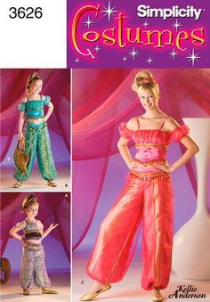 Womens Genie Costume Sewing Pattern 3626 Simplicity
