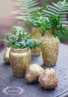 holiday fun    Materials:  several glass vases  fake pears {fake apples, gourds, or little pumpkins would also be cute}  modge podge or elmers glue  glitter in color of choice  spray acrylic sealant  paint brush