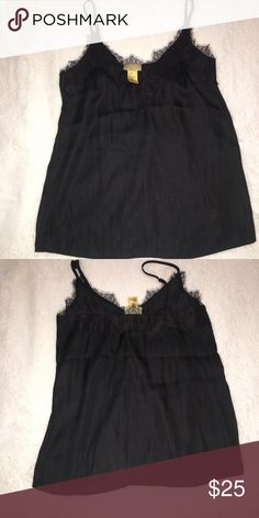 Lace/silk cami Silky cami. Goes great with leather jacket/skinny distressed denim outfit. Never worn. Too small for D sized breasts. H&M Tops Camisoles