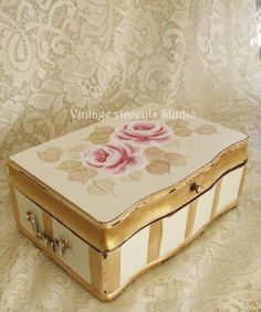 Hand Painted Jewelry  Box Victorian Keepsake Shabby Cottage Roses Wooden