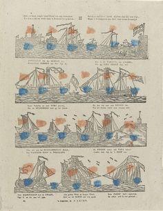 D. Lijsen | Kan, o lieve jeugd! deez' prent uw oog vermaken, / En doet u dit nu reeds naar 't zeemans leven haken. / Bevalt u dan deez' stand studeer dan ook met vlijt, / Want 't is doorgaans een deel, voor uwen levenstijd, D. Lijsen, Jan Bernardus Ulrich, Anonymous, 1836 - 1849 | Blad met 4 horizontale rijen met voorstellingen van schepen. Onder elke voorstelling een vier- of zesregelig. Genummerd linksonder: 21.