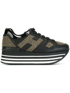 HOGAN contrast panel platform sneakers. #hogan #shoes #sneakers