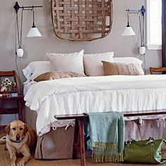 love the old tobacco basket above the bed!  and the puppy. :)