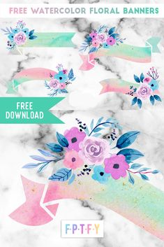 4 Free Watercolor Floral Banners - Free Pretty Things For You