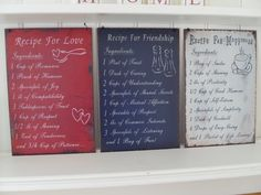RECIPE FOR LOVE FRIENDSHIP OR HAPPINESS METAL SAYING SIGNS CHIC N SHABBY PLAQUE