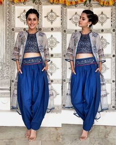 Taapsee Pannu Royal Blue Floral Printed Silk Party Wear Indo-Western Dhoti Suit With Shrug Indian Fashion Dresses, Dress Indian Style, Indian Designer Outfits, Ethnic Fashion, Designer Dresses, Indian Fashion Trends, Ethnic Trends, Fashion Women, High Fashion