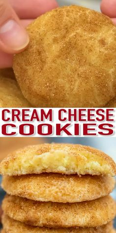 Cinnamon Cream Cheese Cookies are soft, chewy, and irresistible! Celebrate the holidays with these snickerdoodles that will surely be a crowd-pleaser! cheese Brownie Cookies Cinnamon Cream Cheese Cookies - Sweet and Savory Meals Smores Dessert, Dessert Dips, Dessert Recipes, Mini Desserts, Easy Desserts, Delicious Desserts, Yummy Food, Sugar Free Desserts, Lemon Desserts