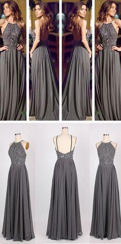 Popular long backless grey prom dress, evening dress. #prom #eveningdress #longpromdress #promdress #greypromdress