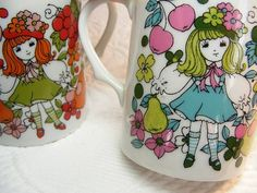 Pair of MOD Childs Mugs 1970s Japan Girl With by violetsandgrace