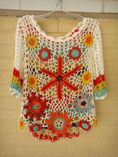 Handmade Crochet Floral Top Women Bohemian Clothing - Click Image to Close Pull Crochet, Mode Crochet, Crochet Granny, Irish Crochet, Knit Crochet, Cardigan Au Crochet, Crochet Cardigan, Floral Tops, Bikini Crochet