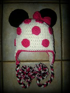 Girl, Pink Minnie Mouse Hat, Crochet Hats, Baby Girl, Crochet Minnie Mouse Hat, Beanie, Earflaps, MADE TO ORDER