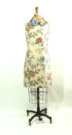 Cotton Floral Sleeveless Dress with Flower by vintagebycassandra