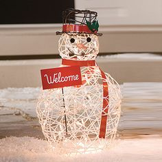 Lighted Grapevine Snowman