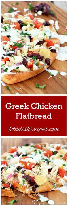 Greek Chicken Flatbread Recipe   Easy, delicious flat bread style pizza featuring tender chicken, artichokes, olives and feta cheese. #easyreach @hamiltonbeach @target  [ad]