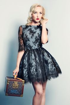 Grey Cocktail Dress wtih Black Lace Overlay