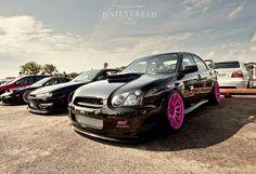 Subaru Impreza WRX STi from Team Violent on pink XXR 527 wheels