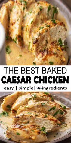 Caesar Chicken this so really simple baked chicken recipe just includes 4 Ingredients and requires less than 30 minutes to create. It is creamy, easy, and full of flavor. Easy Chicken Dinner Recipes, Easy Baked Chicken, Turkey Recipes, Recipe Chicken, Easy Dinner Recipes, Baked Chicken Breast, Keto Chicken, Recipes With Chicken Breast Strips, Rotisserie Chicken