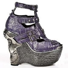 New Rock Womens M.PZ004-C15 Purple Leather Boots - Goth,Punk,Gothic,Shoes - [SO]