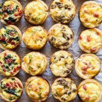 Skip the store-bought and make your own Mini Quiche! Try these 4 tasty combos or choose your own adventure. Make ahead/freezer friendly and great for kids! I remember trying Mini Quiche appetizers as Chicken Thights Recipes, Chicken Parmesan Recipes, Recipe Chicken, Healthy Chicken, Chicken Salad, Aperitivos Finger Food, Mini Quiche Recipes, Mini Quiches, Mini Pies