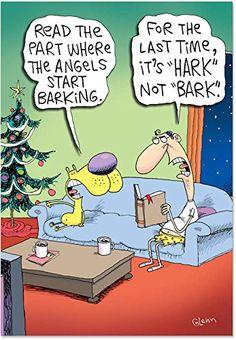 Angels Barking Box of 12 Funny / Humorous Christmas Cards by Nobleworks Christmas Jokes, Christmas Cartoons, Funny Christmas Cards, Christmas Fun, Christmas Animals, Christmas Decorations, Funny Cartoons, Funny Comics, Funny Jokes