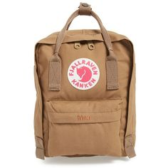 Fjällräven 'Mini Kånken' Water Resistant Backpack ($60) ❤ liked on Polyvore featuring bags, backpacks, accessories, fillers, sand, mini rucksack, fjallraven backpack, fjallraven rucksack, mini bag and fjallraven bag