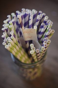 Lavender and apple green straws.
