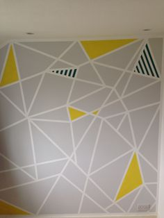 Geometric paint design on study feature wall. Frog tape and patience …