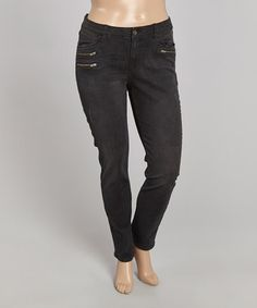 Look what I found on #zulily! Black Zip Straight-Leg Jeans - Plus #zulilyfinds