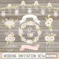 Wedding Clipart WEDDING INVITATION SET With String Lights Mason Jars Ribbons Flowers Bouquet Floral Wreath For Invitations
