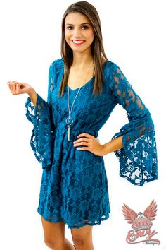 Sweet Hellos Lace Dress - The sweet hellos lace dress is perfect for a night out in the fall or a southern winter. This dress comes fully lined with an outside layer of gorgeous turquoise lace. We love its elegant open bell sleeves and deep v-cut neckline. Finish this look with a pair of cute cowgirl boots for a perfect southern belle look.  | available at http://www.envyboutique.us/shop/sweet-hellos-lace-dress/ |  #Envy #Boutique #fashion #fashiontrends