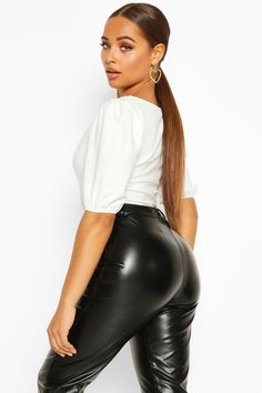 Shop boohoo's range of womens and mens clothing for the latest fashion trends you can totally do your thing in, with of new styles landing every day! Leather Dresses, Leather Pants, Latest Tops, Tummy Tucks, Vintage Girls, Manga, Latest Fashion Trends, Black Tops, Hot Girls